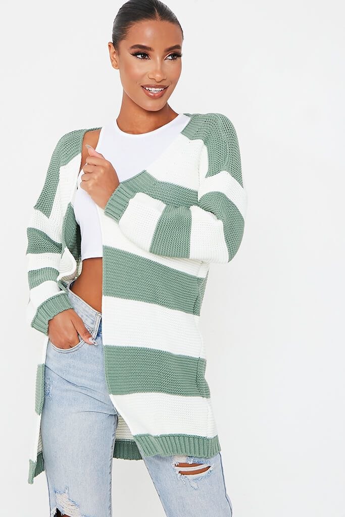 Sage Stripe Knitted Cardigan view main view