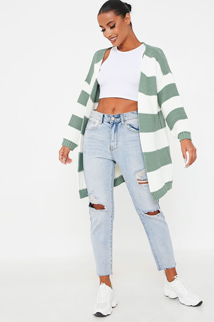 Sage Stripe Knitted Cardigan view 2