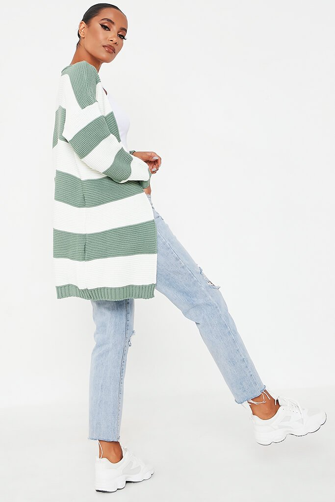 Sage Stripe Knitted Cardigan view 4