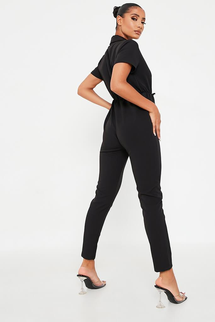 Black Woven Elasticated Waist Utility Jumpsuit view 3