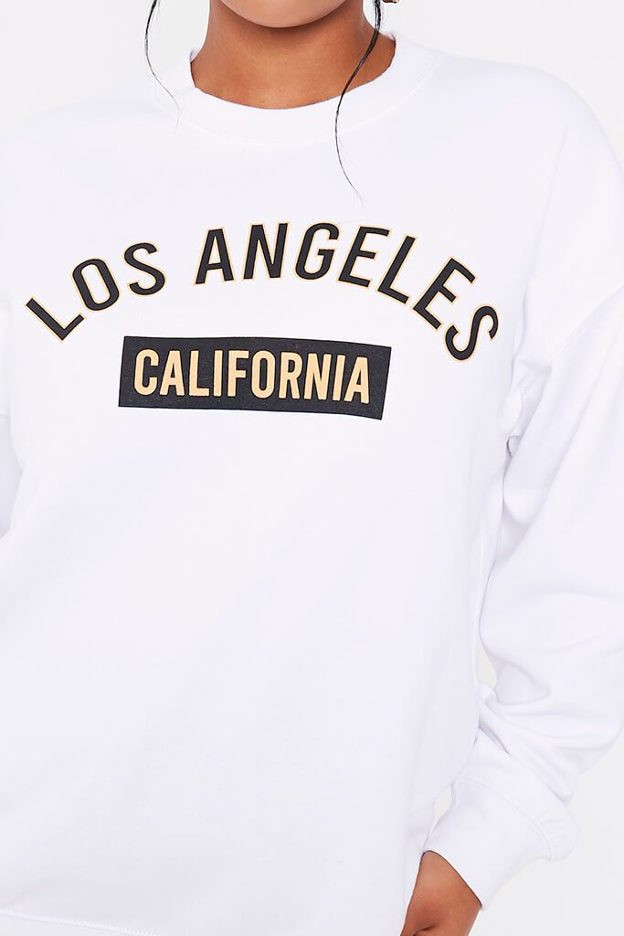 White Los Angeles College Print Sweatshirt view 5