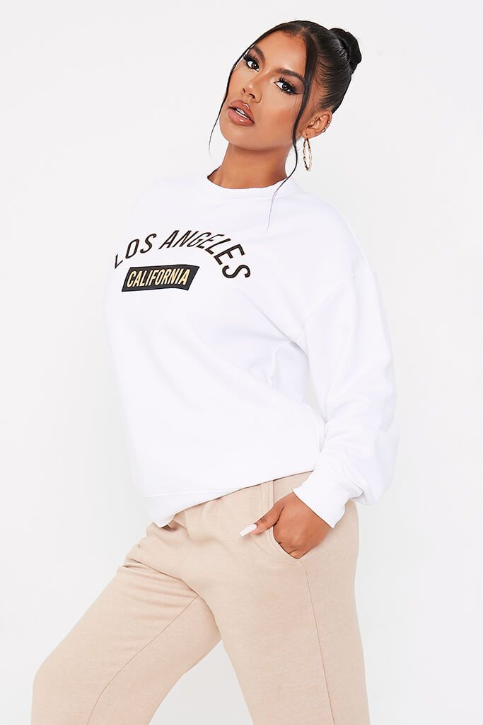 White Los Angeles College Print Sweatshirt view 3