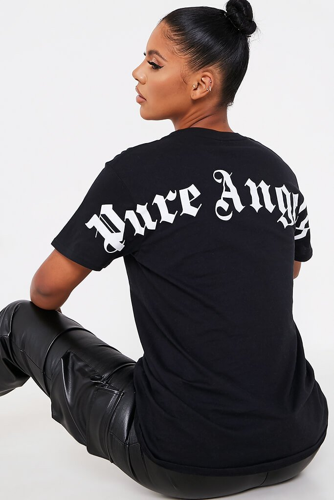 Black Pure Angels Back Print Oversized Tshirt view main view