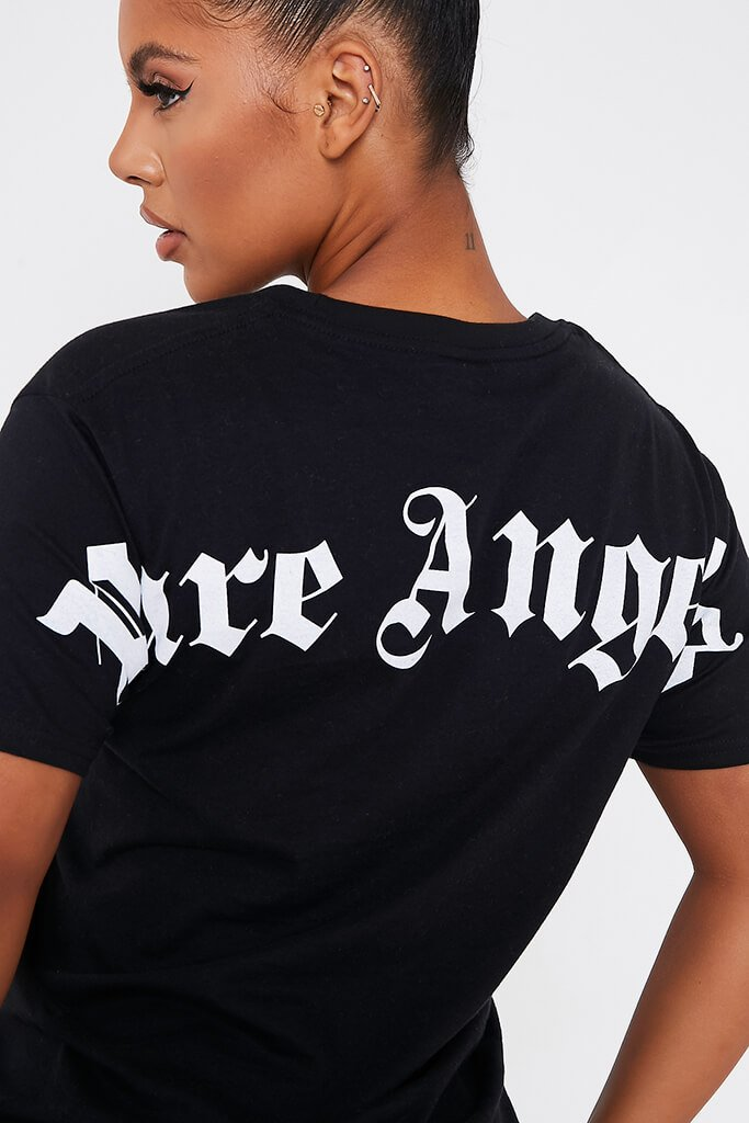 Black Pure Angels Back Print Oversized Tshirt view 5
