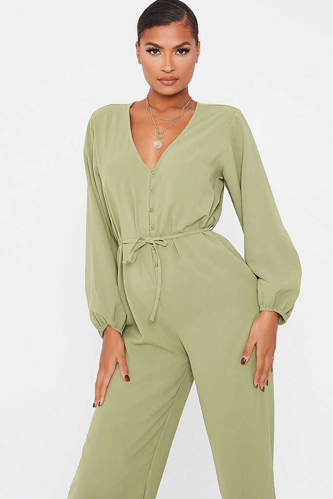 Olive Green Woven Button Down Wide Leg Jumpsuit view 2