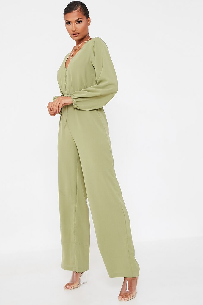 Olive Green Woven Button Down Wide Leg Jumpsuit view 3