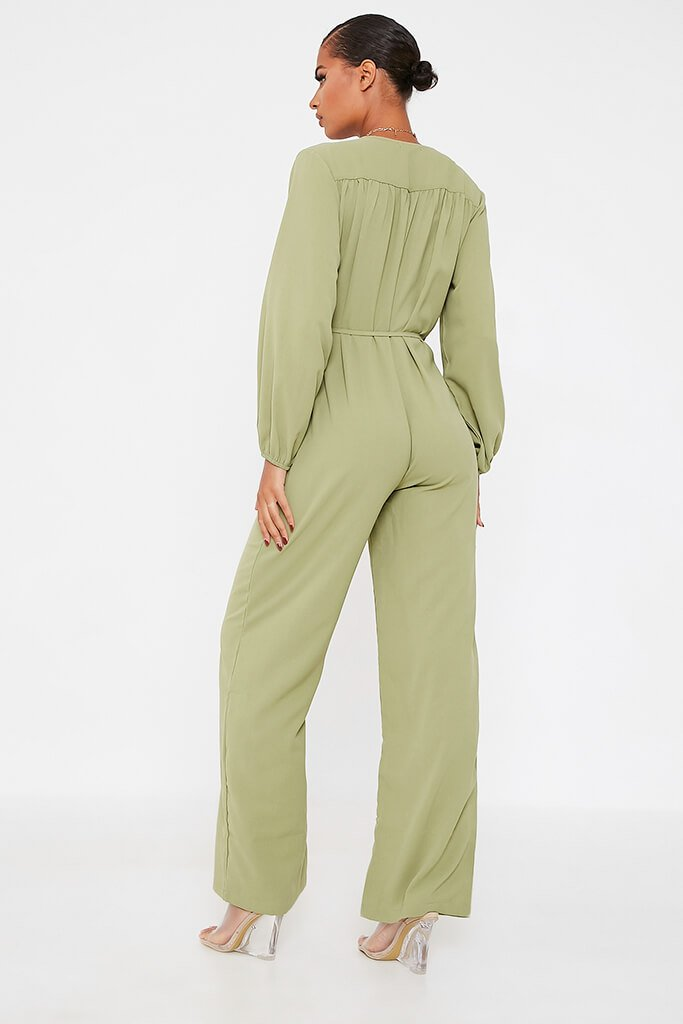 Olive Green Woven Button Down Wide Leg Jumpsuit view 4
