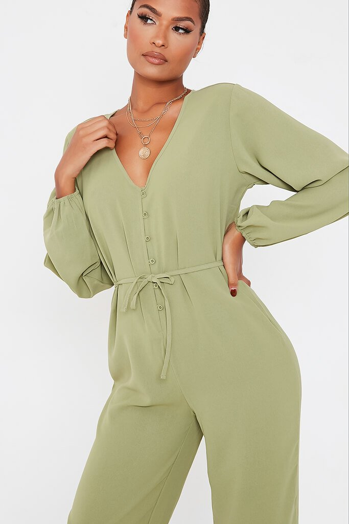 Olive Green Woven Button Down Wide Leg Jumpsuit view 5