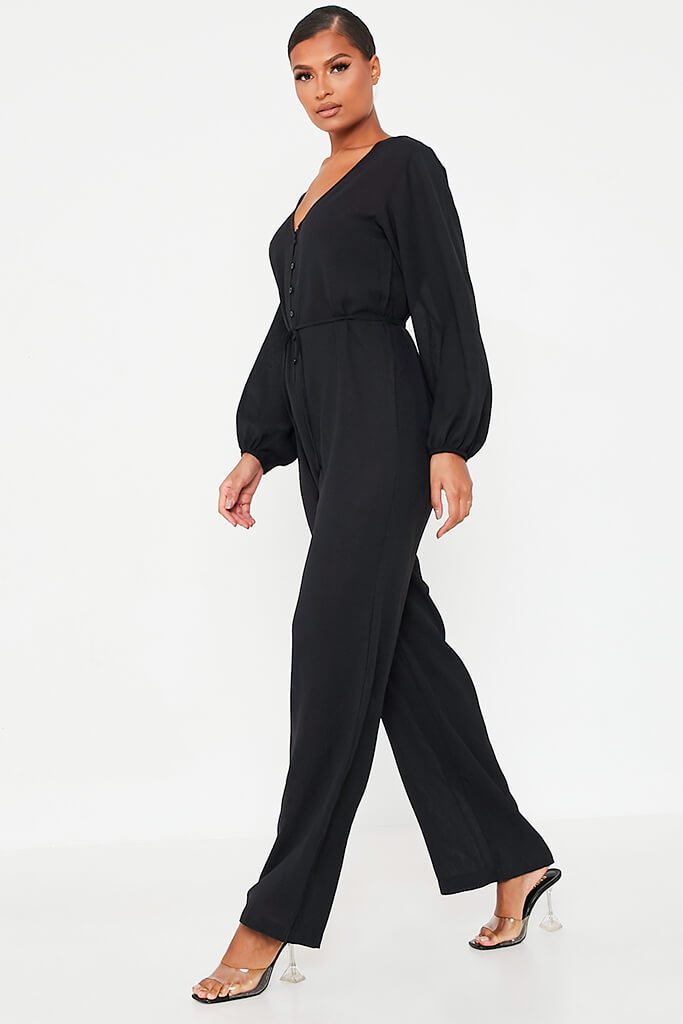 Black Woven Button Down Wide Leg Jumpsuit view 3