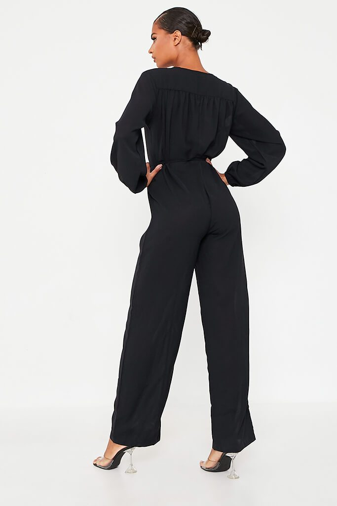 Black Woven Button Down Wide Leg Jumpsuit view 4