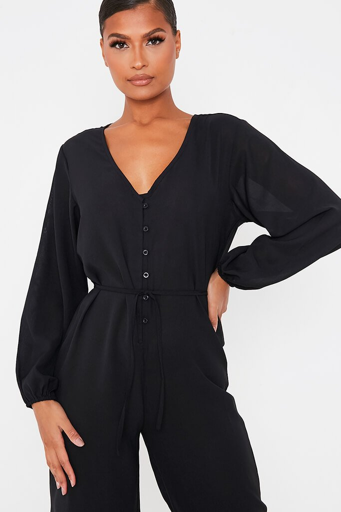 Black Woven Button Down Wide Leg Jumpsuit view 5
