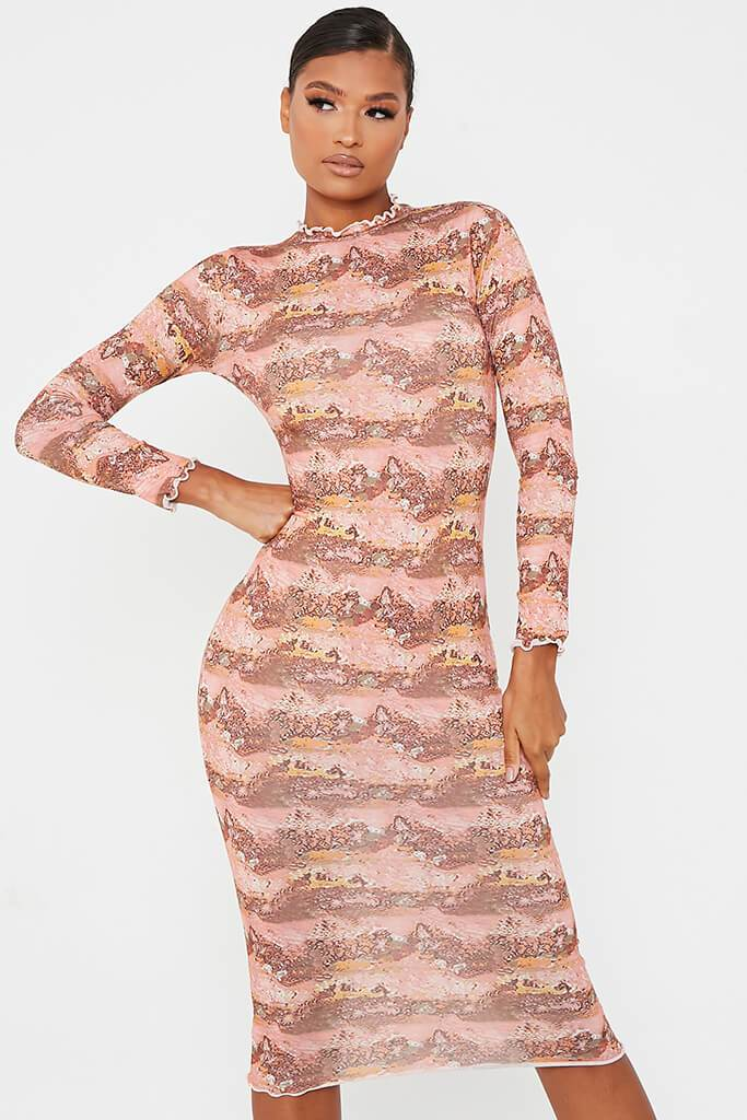 Rust Soft Jersey Abstract Print Lettuce Edge Midi Dress