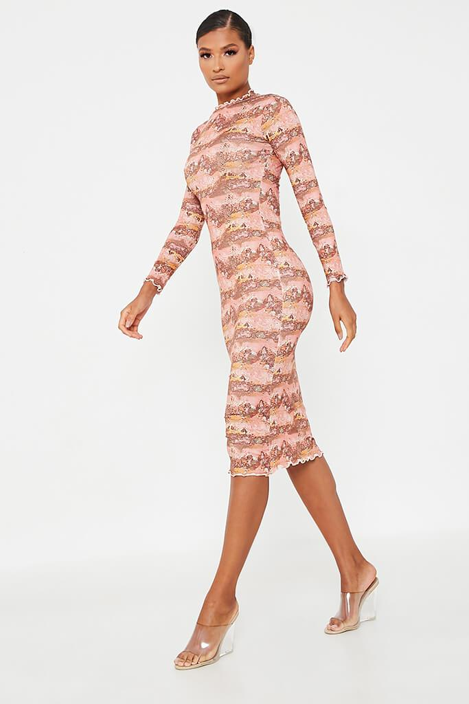 Rust Soft Jersey Abstract Print Lettuce Edge Midi Dress view 3