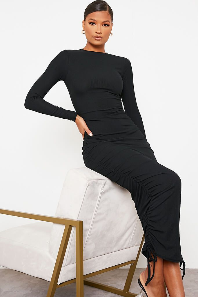 Black High Neck Long Sleeve Ruched Bodycon Midi Dress