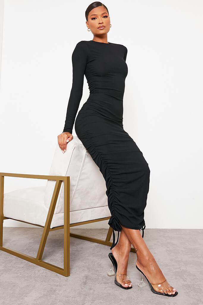 Black High Neck Long Sleeve Ruched Bodycon Midi Dress view 2