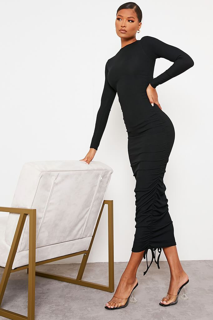 Black High Neck Long Sleeve Ruched Bodycon Midi Dress view 3