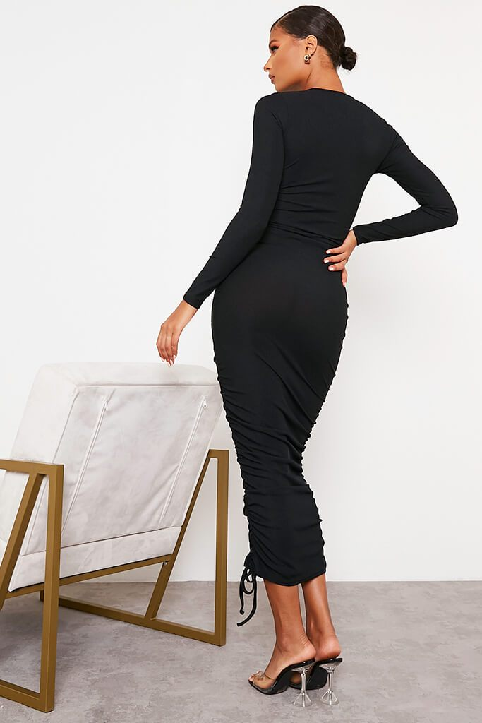 Black High Neck Long Sleeve Ruched Bodycon Midi Dress view 4