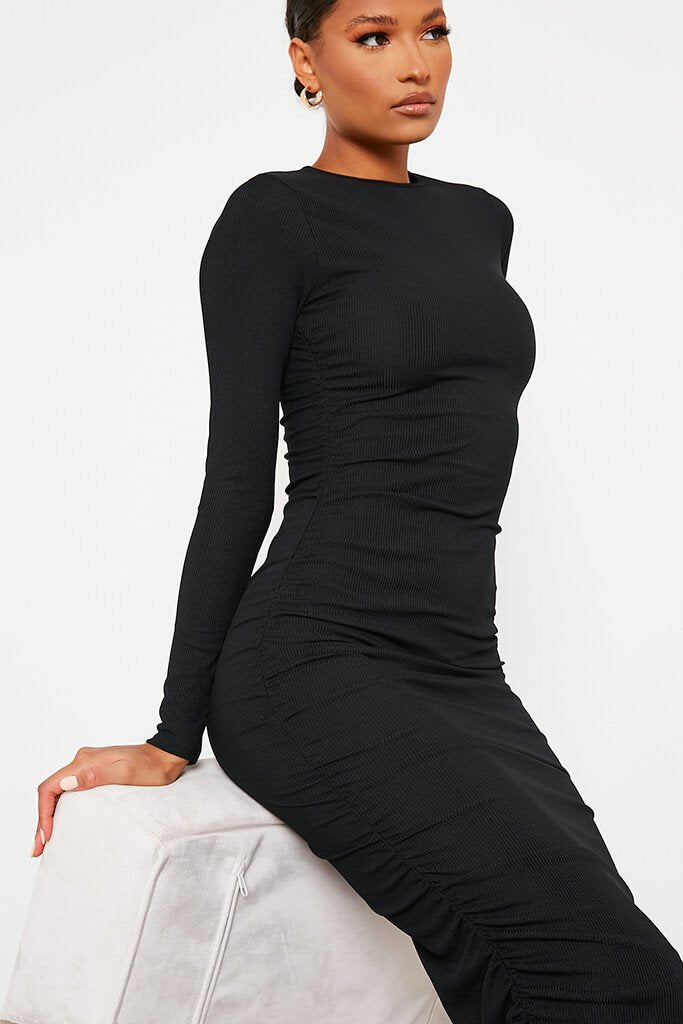 Black High Neck Long Sleeve Ruched Bodycon Midi Dress view 5