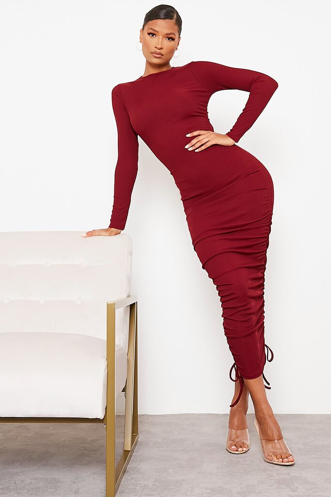 Burgundy Ribbed High Neck Long Sleeve Ruched Bodycon Midi Dress view main view
