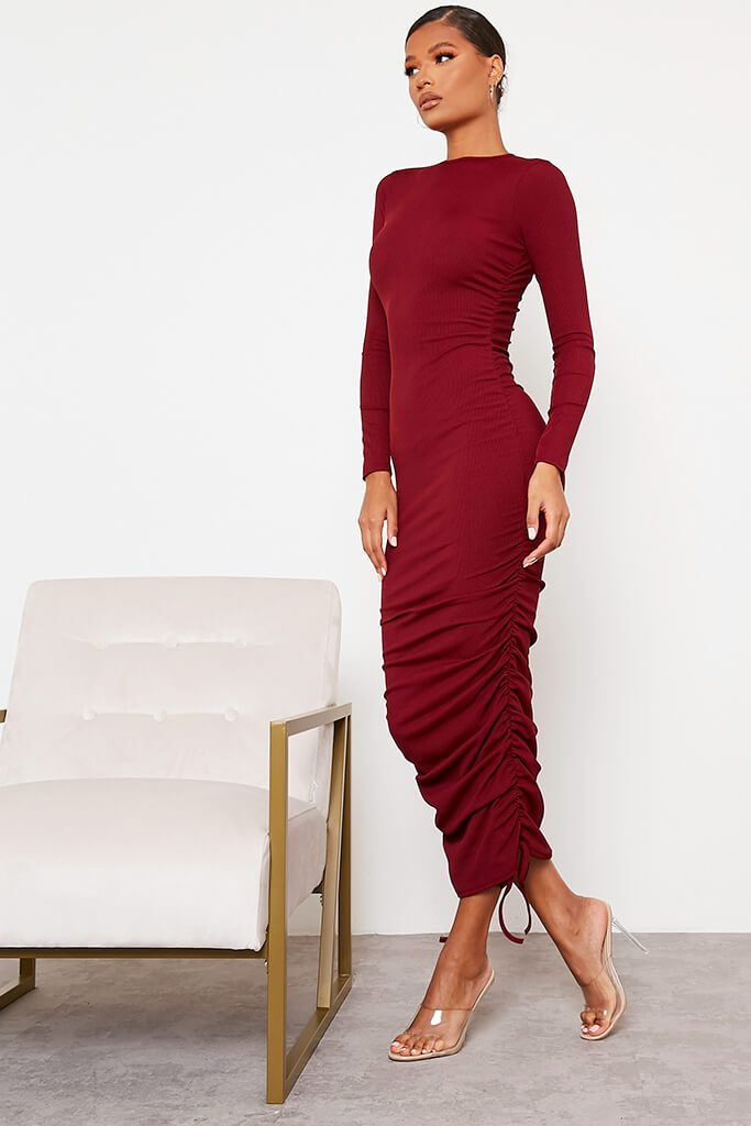 Burgundy Ribbed High Neck Long Sleeve Ruched Bodycon Midi Dress view 3