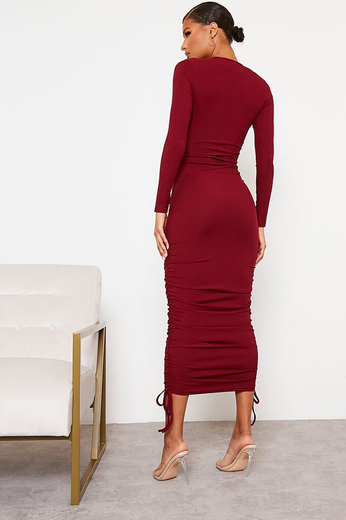 Burgundy Ribbed High Neck Long Sleeve Ruched Bodycon Midi Dress view 4