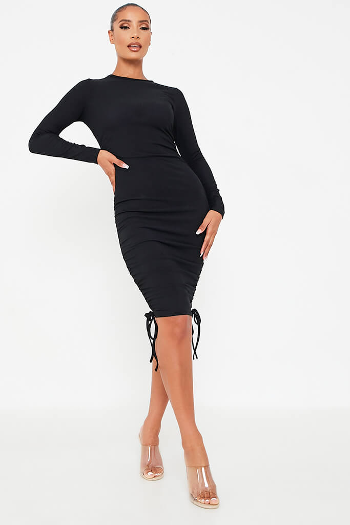 Black Rib High Neck Long Sleeve Ruched Bodycon Dress
