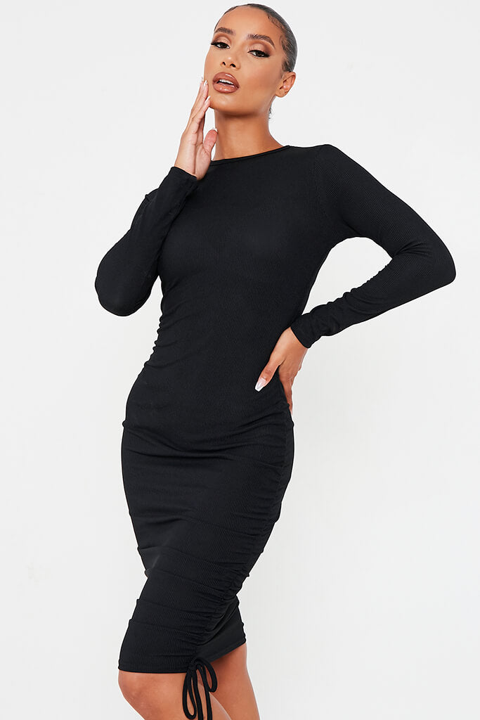 Black Rib High Neck Long Sleeve Ruched Bodycon Dress view 2