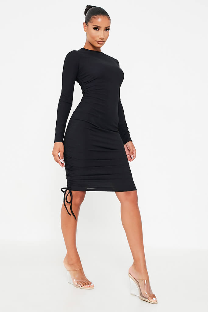 Black Rib High Neck Long Sleeve Ruched Bodycon Dress view 3