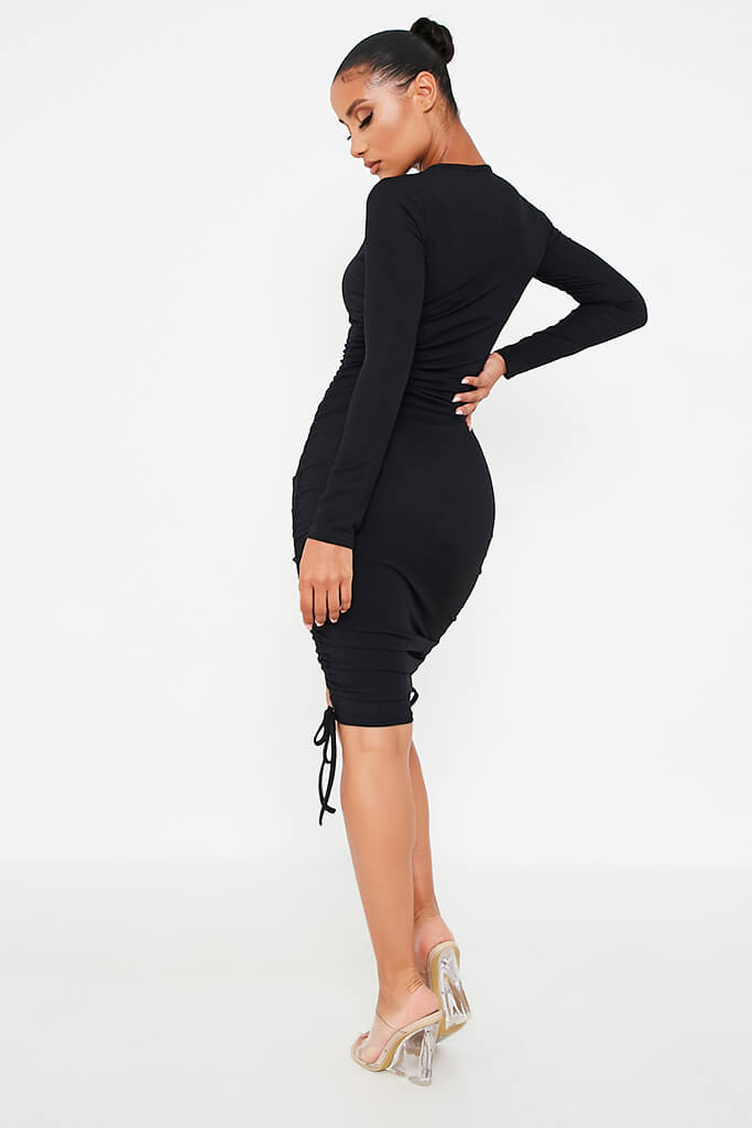Black Rib High Neck Long Sleeve Ruched Bodycon Dress view 4