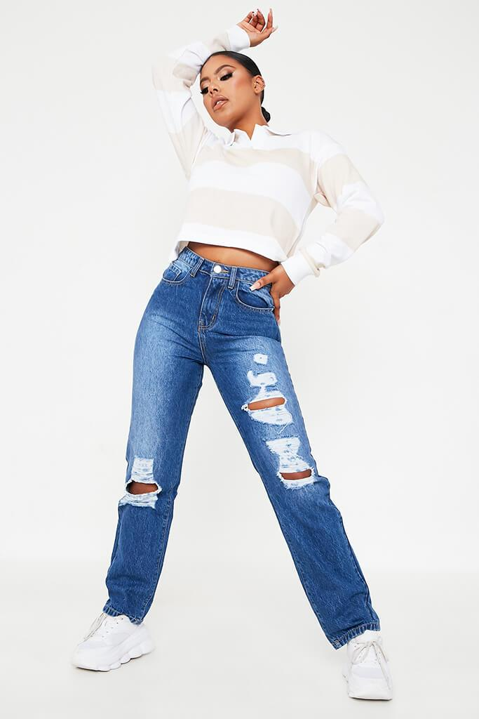 Mid Wash High Waisted All Over Ripped Baggy Jean