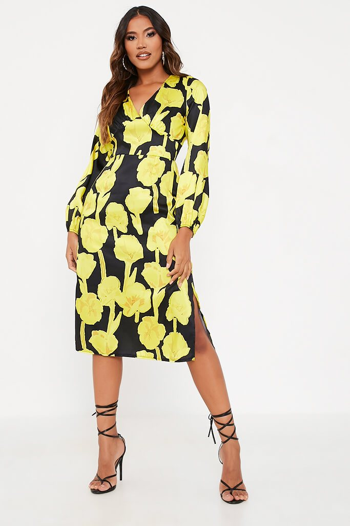 Yellow Woven Floral Print Bust Detail Long Sleeve Midi Dress view 2