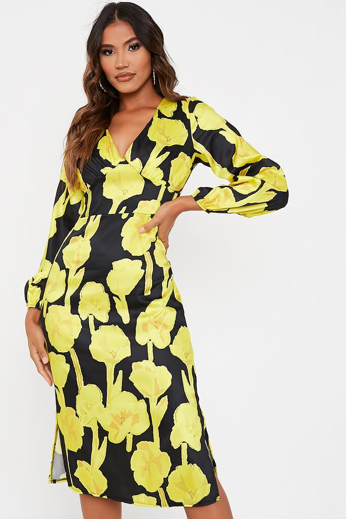 Yellow Woven Floral Print Bust Detail Long Sleeve Midi Dress