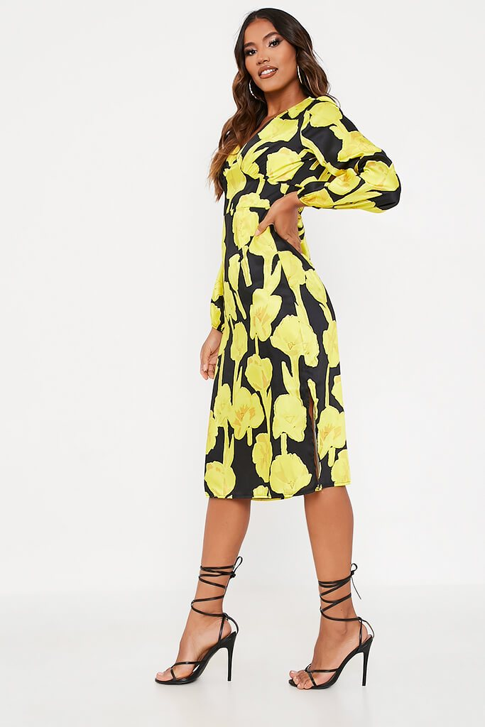Yellow Woven Floral Print Bust Detail Long Sleeve Midi Dress view 3