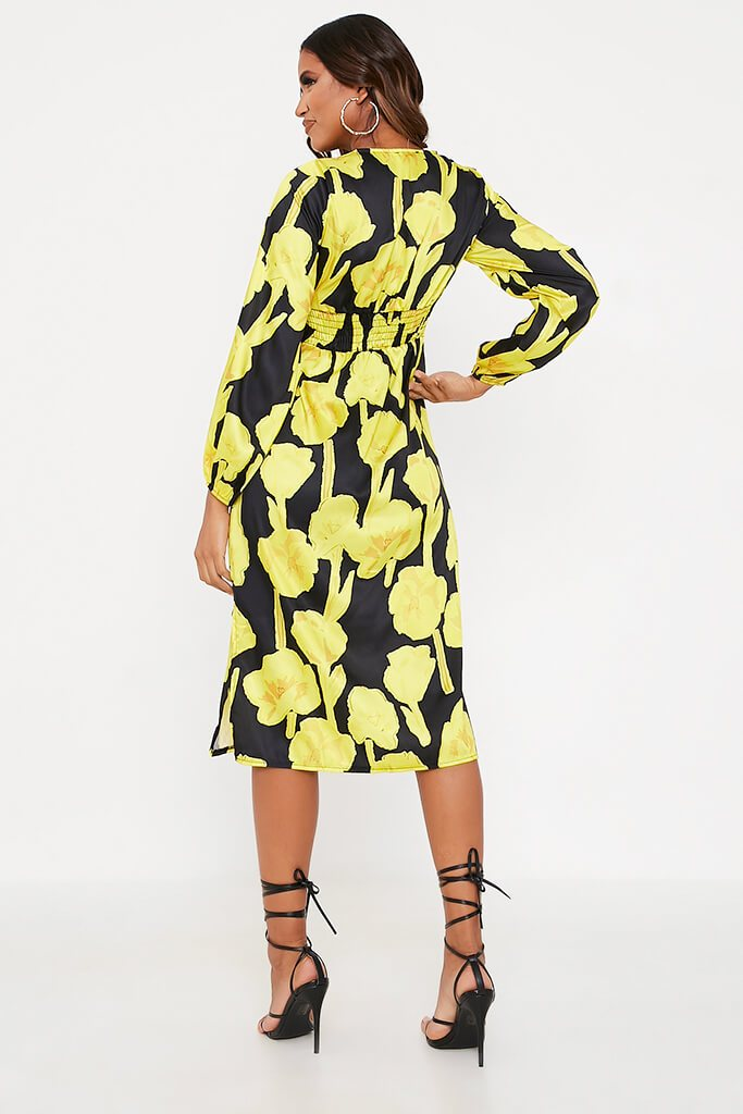 Yellow Woven Floral Print Bust Detail Long Sleeve Midi Dress view 5