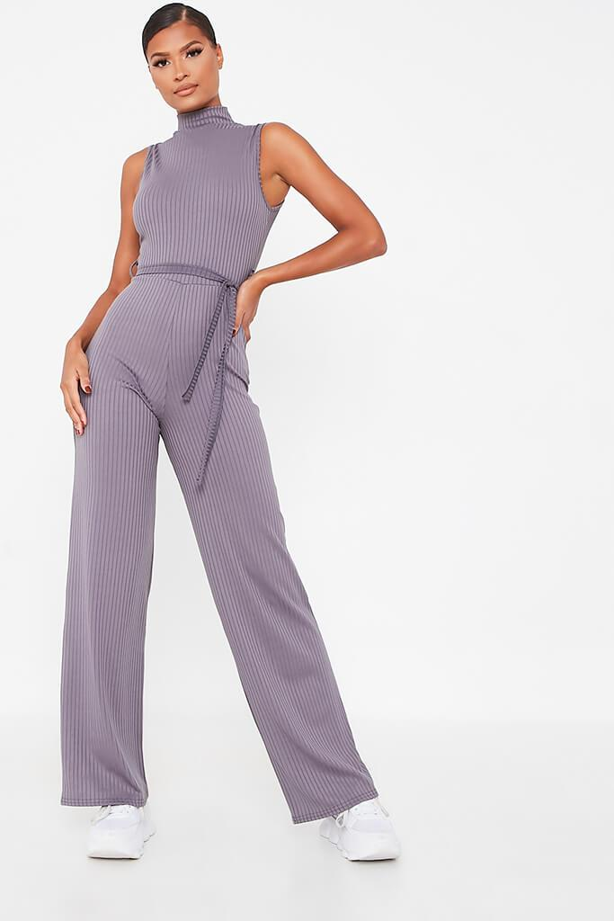 Charcoal Ribbed Roll Neck Tie Waist Wide Leg Jumpsuit