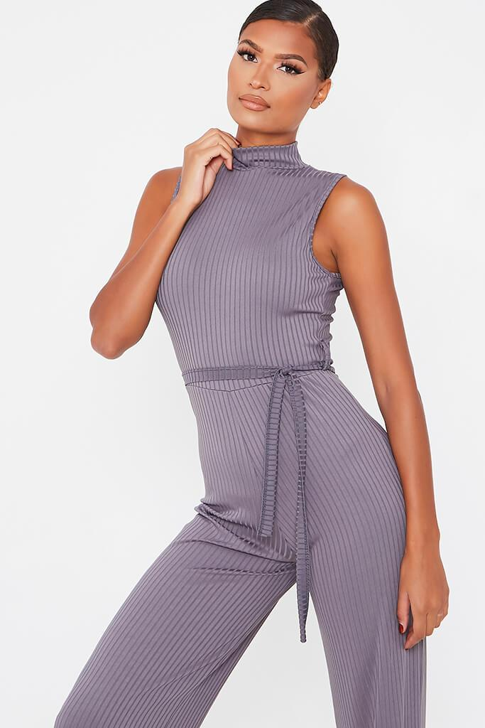Charcoal Ribbed Roll Neck Tie Waist Wide Leg Jumpsuit view 2