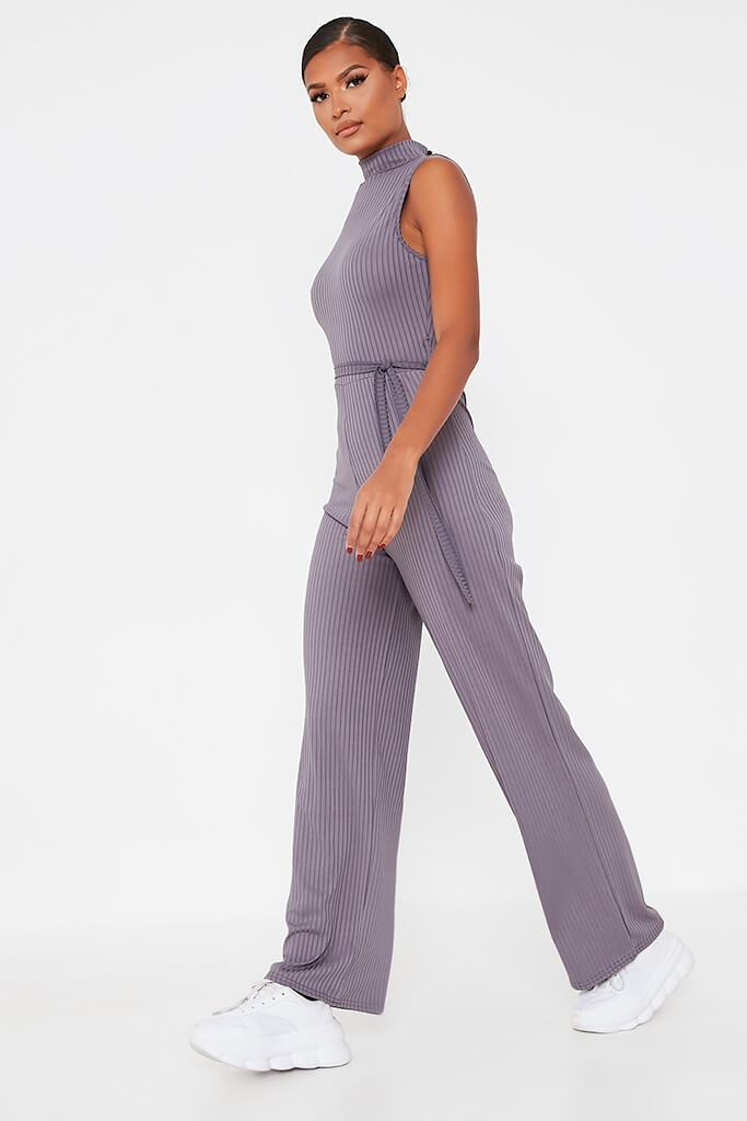 Charcoal Ribbed Roll Neck Tie Waist Wide Leg Jumpsuit view 3