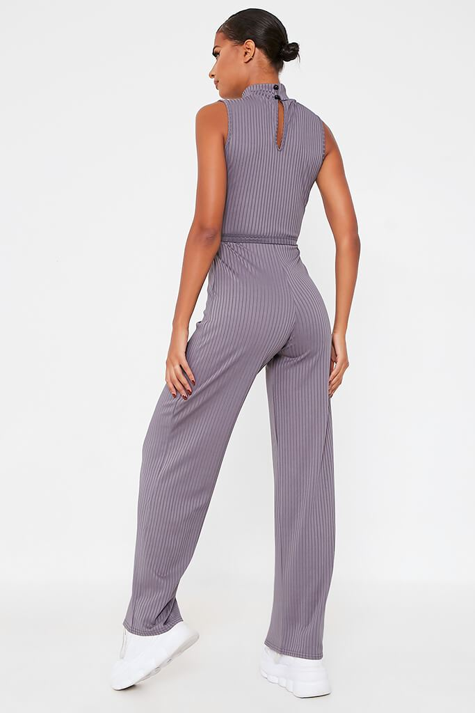 Charcoal Ribbed Roll Neck Tie Waist Wide Leg Jumpsuit view 4
