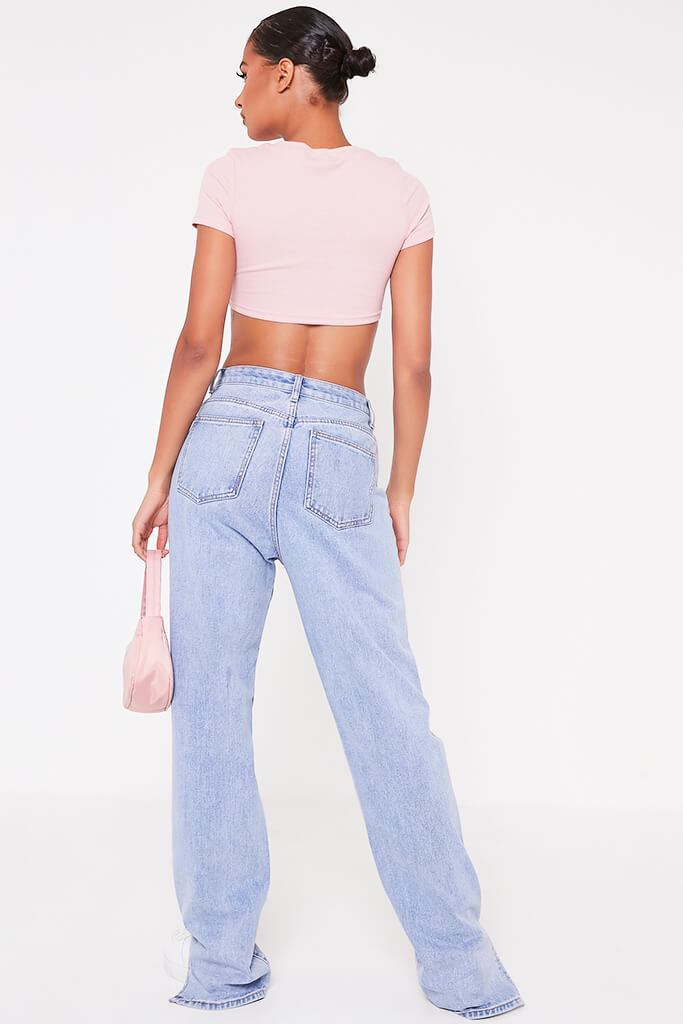 Pink Ribbed Ring Detail Short Sleeve Crop Top view 5