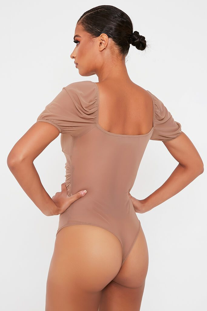Camel Mesh Ruched Puff Sleeve Bodysuit view 4