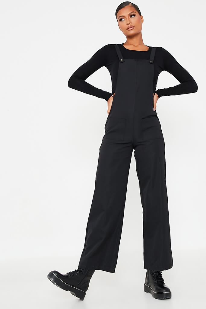 Black Woven Pocket Front Dungaree Jumpsuit