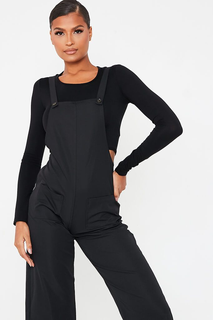 Black Woven Pocket Front Dungaree Jumpsuit view 2
