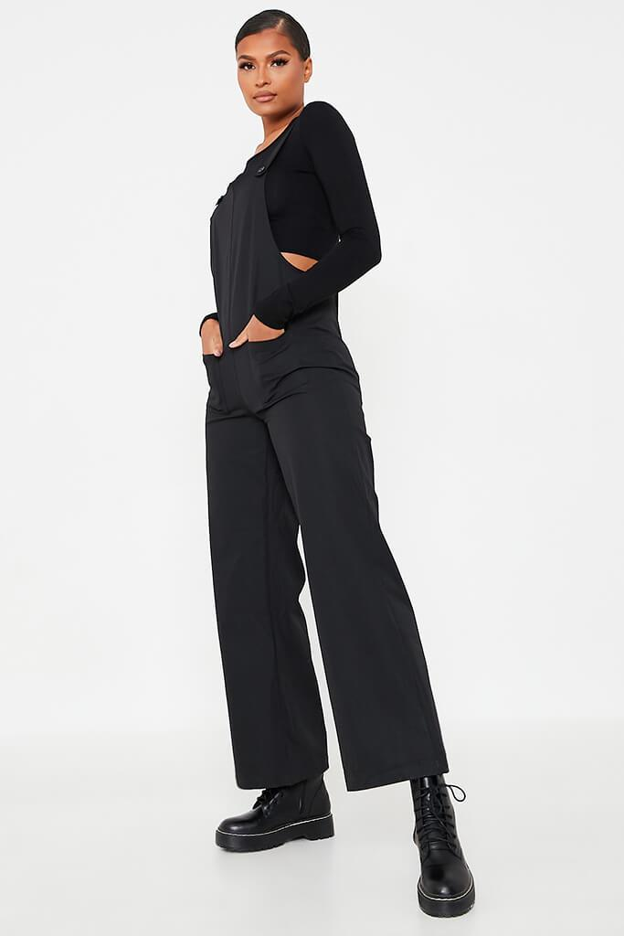 Black Woven Pocket Front Dungaree Jumpsuit view 3