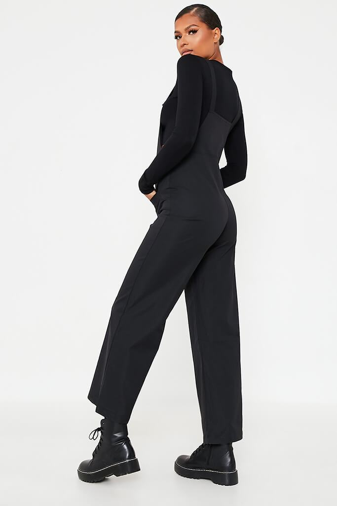 Black Woven Pocket Front Dungaree Jumpsuit view 4