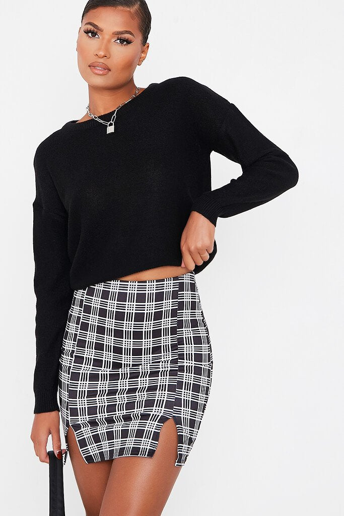 Black Double Notch Front Check Print Mini Skirt