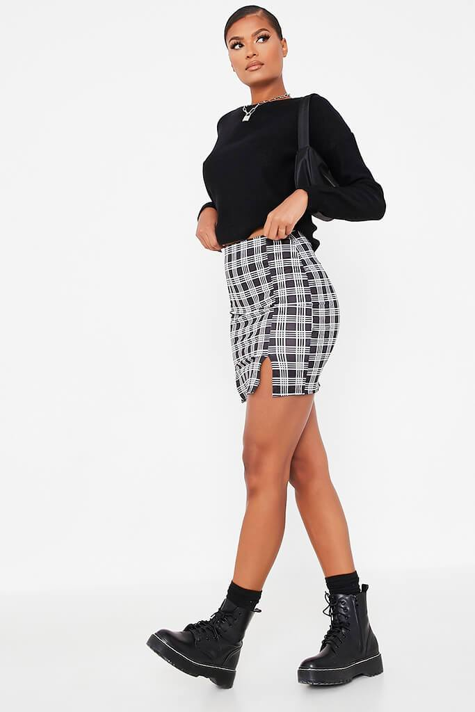 Black Double Notch Front Check Print Mini Skirt view 3