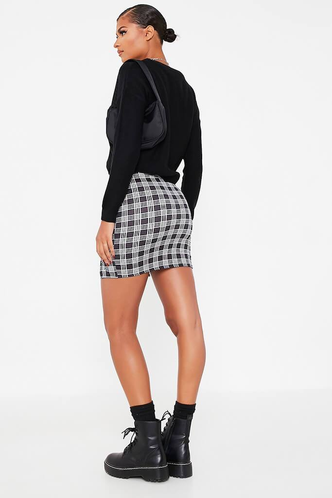 Black Double Notch Front Check Print Mini Skirt view 4