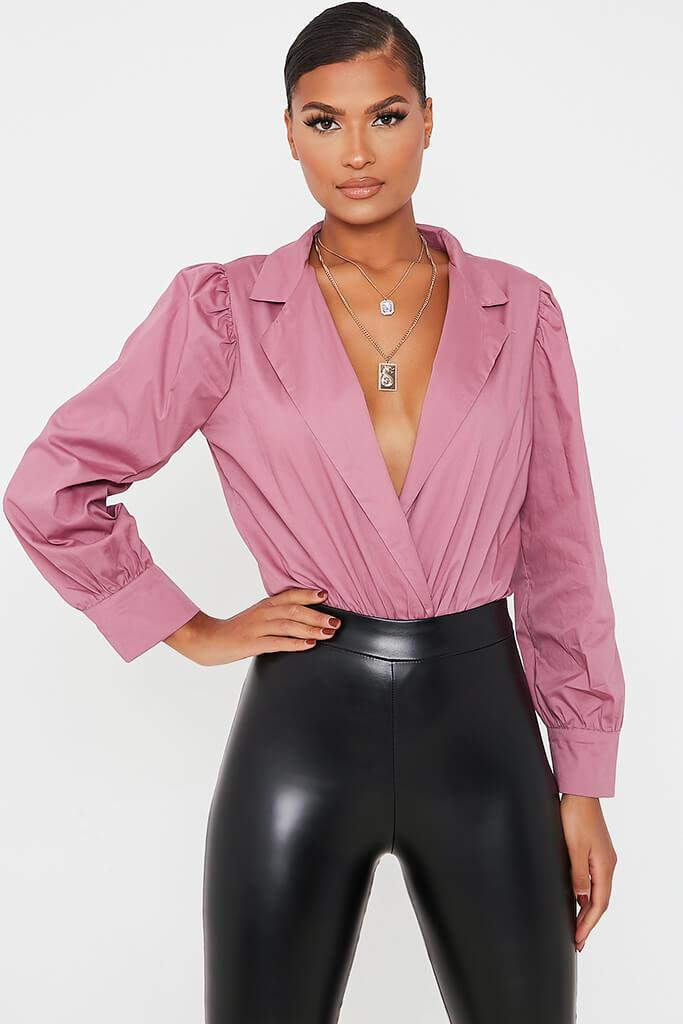 Rose Cotton Poplin Puff Sleeve Collar Bodysuit view main view