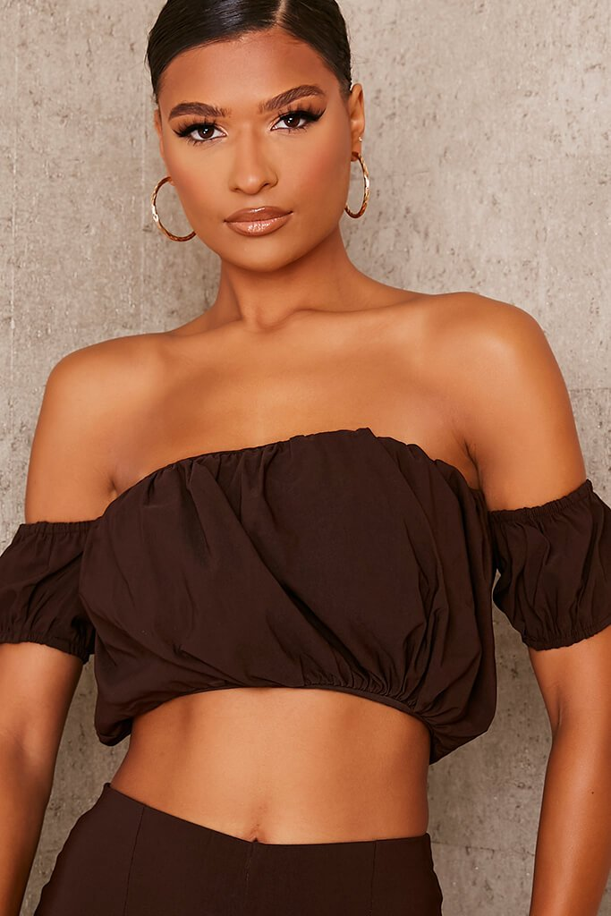 Chocolate Bengaline Ruched Bardot Crop Top view 5