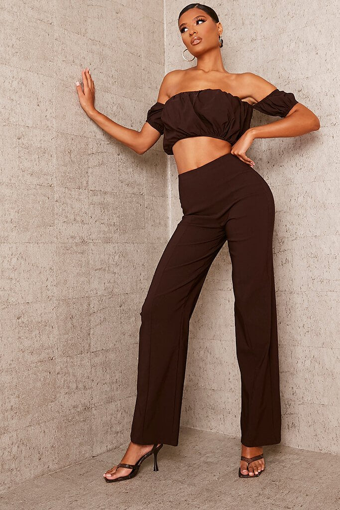 Chocolate Benagline Straight Leg Trouser view 3